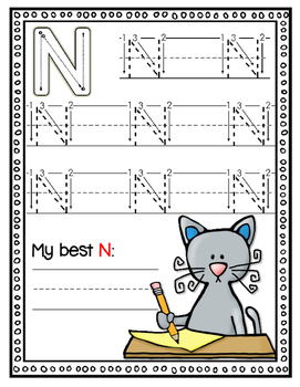 Blue Cat Dry Erase Capital Letter Handwriting Cards for K-1