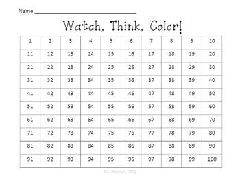 Blue Cat Hundreds Chart Fun - Watch, Think, Color Mystery Pictures