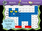 Blue Cat Reading Number Words - Watch, Think, Color Mystery Pictures