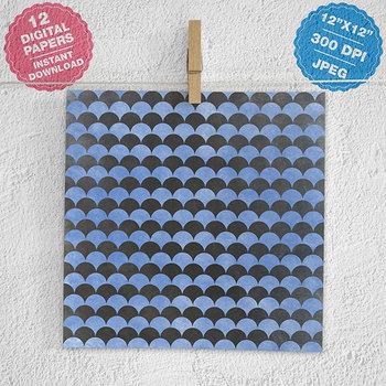 Chalkboard Paper, Blue Chalk Digital Backgrounds Pack