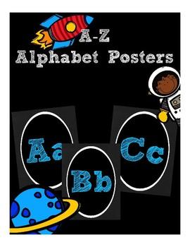Blue Chalkboard Alphabet Posters (Classroom Decor) (Space Astronaut)