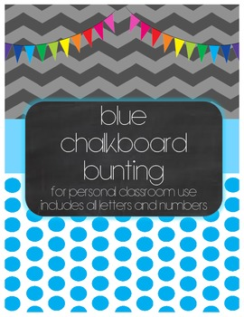 Blue Chalkboard Bunting Display Set