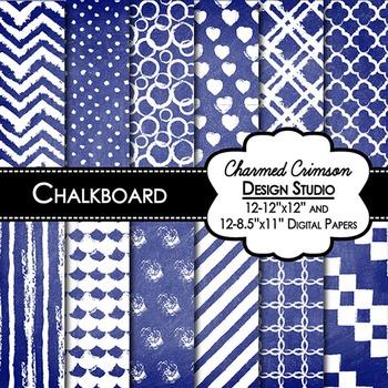 Blue Chalkboard Digital Paper 1429