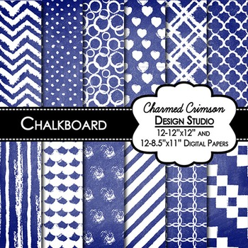 Blue Chalkboard Digital Paper 1429