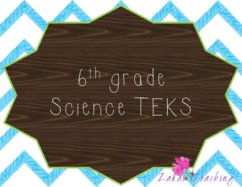 Blue Chevron 6th Grade Science TEKS