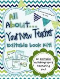 Blue Chevron All About Your New Teacher! Editable Book Kit