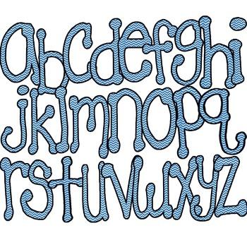 Blue Chevron Alphabet/Letters/Font
