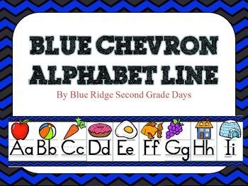 Blue Chevron Alphabet Line