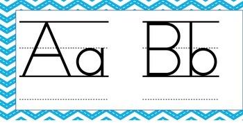 Blue Chevron Alphabet Wall Posters