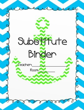 Blue Chevron Anchor Substitute Teacher Binder