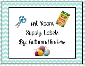 Blue Chevron Art Supply Labels
