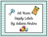 Blue Chevron Art Supply Labels