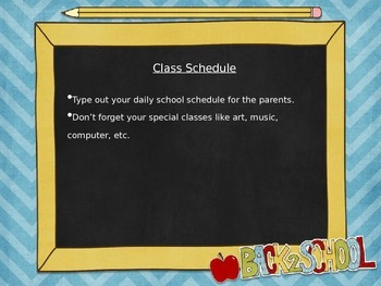 Open House Powerpoint Template - Blue Chevron Back to School theme