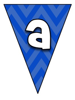 Pennant Bulletin Board Letters Blue Chevron (LARGE)