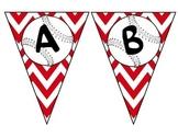 Red Chevron Baseball Pennant Alphabet