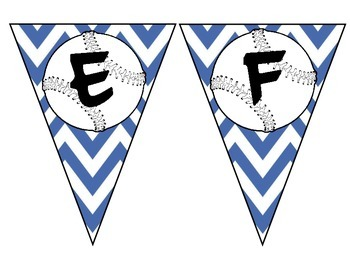 Blue Chevron Baseball Pennant Alphabet