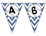 Blue Chevron Baseball Pennant Alphabet