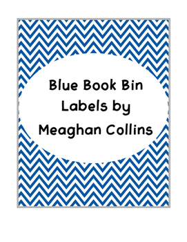Blue Chevron Book Bin Labels