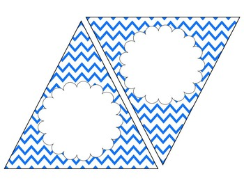 Blue Chevron Bunting--EDITABLE text and size, 4 designs