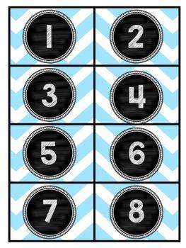 Blue Chevron Calendar Cards- FULL YEAR