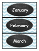Blue Chevron Calendar Months and Numbers