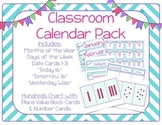 Blue Chevron Classroom Calendar Pack