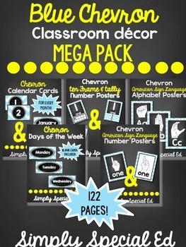 Blue Chevron Chalkboard Classroom Decor MEGA Pack