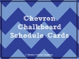 Blue Chevron Chalkboard Schedule Cards