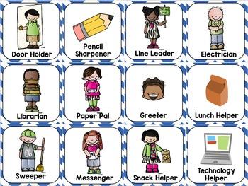 Blue Chevron Classroom Decor Pack