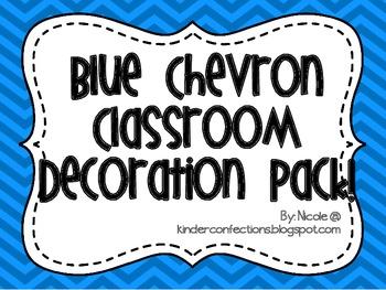 Blue Chevron Classroom Decoration Pack