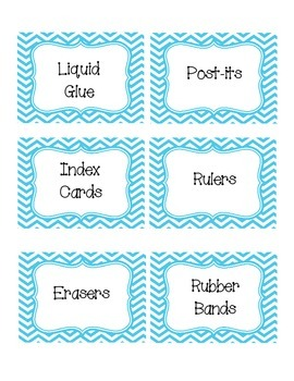 Blue Chevron Classroom Supply Labels