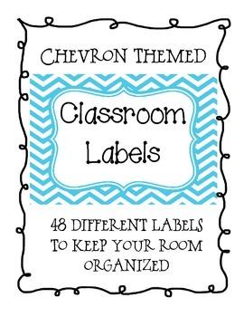 Blue Chevron Classroom Supply Labels