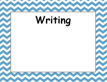 Blue Chevron Daily Objective Subject Posters - Make Into Dry Erase Posters