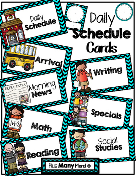 Blue Chevron Daily Schedule Cards With Clocks