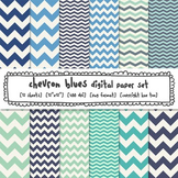 Blue Chevron Digital Papers, Classroom Decor Backgrounds for TpT Sellers