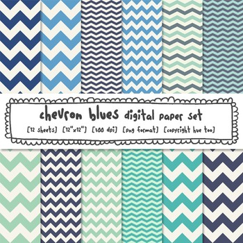 Blue Chevron Digital Papers, Classroom Decor Backgrounds f