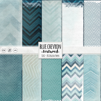 Blue Chevron Digital Papers, Shabby Textured Background Paper Pack, Navy, Sky