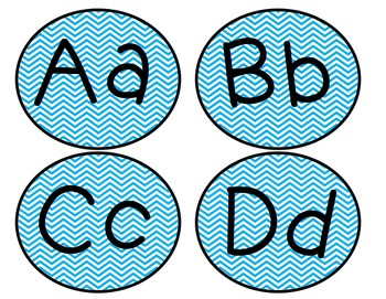Editable Blue Chevron Word Wall or Reading Level Letters