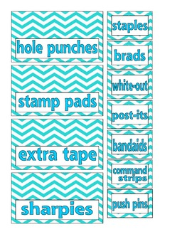 Blue Chevron Teacher Toolbox Labels