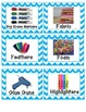 Blue Chevron Labels with pictures
