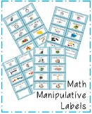 Blue Chevron Math Manipulative Labels FREEBIE