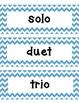 Blue Chevron Musical Word Wall Kit