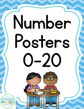 Blue Chevron Number Posters