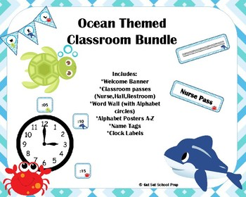 Blue Chevron Ocean themed Classroom bundle