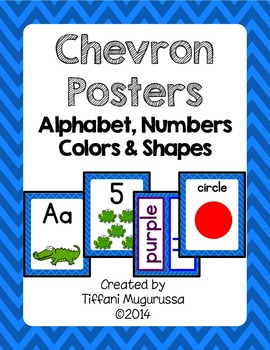 Blue Chevron Posters Alphabet Numbers Colors and Shapes