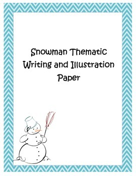 Blue Chevron Snowman Thematic Writing and Drawing Paper Christmas Winter