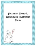 Blue Chevron Snowman Thematic Writing and Drawing Paper Ch