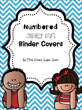 Blue Chevron Student Data Binder Covers (Numbered) {{FREEBIE}}