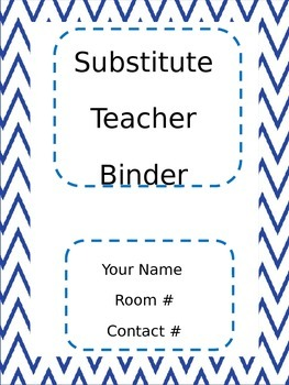 Blue Chevron Substitute Teacher Binder