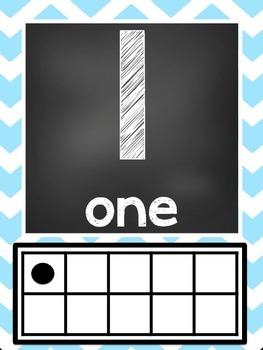 Blue Chevron Ten Frame & Tally Number Posters